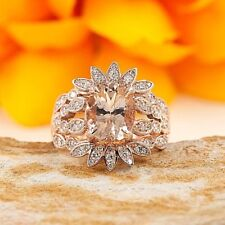 Oval Morganite Shaped Diamond Crown Art Deco Style 14k Gold Engagement Ring
