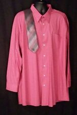 Alexander Julian Men's Dress Shirt 3XLT 19-19.5 Soft Red/Pink-ish w/ Tie
