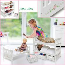 Convertible Doll Bunk Beds 18 Dolls Wooden MDF American Girl Furniture w/Bedding