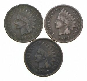 Strong Lot of 3 1903 1907 1907 Indian Head Cent Great Condition! Collection *045