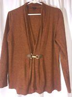 Rafaela Women's Size Medium Rust Cardigan Stretchy Buckled Front Cotton Spandex