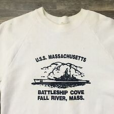 Vintage U.S.S Massachusetts Sweatshirt Battleship Cove Fall River Mass 80s Navy