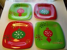 Christmas Melamine Plates Holiday Ornaments Green & Red Set of 4