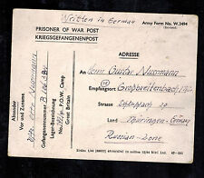 1945 Postcard Cover Pow Camp 197 Gwent Wales England to Germany Prisoner war