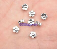 100pcs Tibetan Silver Charm loose bead  flower beads 6x3mm A3413