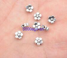100pcs Tibetan Silver Charm loose bead  flower beads 6x3mm A3413