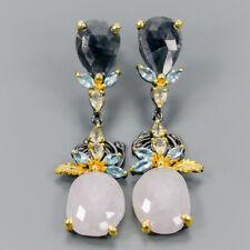 Handmade Natural Sapphire 925 Sterling Silver Earrings /E36333