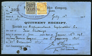 RHODESIA BSAC 1895 QUINTRENT RECEIPT BEARING EARLY ARMS ISSUE. RARE.  A818