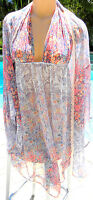 Victorias Secret short nightgown chemise plunge robe set sheer retro floral L