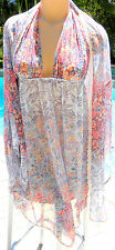 Victorias Secret short nightgown chemise plunge robe set sheer retro floral L