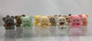 Lot of 10 Vintage Fuzzy Flocked Miniature Dollhouse Bears Craft Decoration