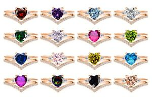 Rose Gold Plated Elegant Birthstone Heart Sterling Silver Two Ring Chevron Set