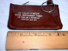 Nice Old Vintage Leather French Zipper Coin Purse & Key Ring Combination France