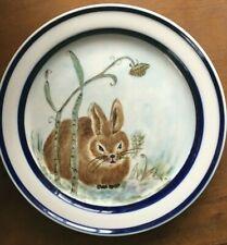"Easter Bunny Rabbit  Orbit Stoneware Plate 223 Blue  8"""