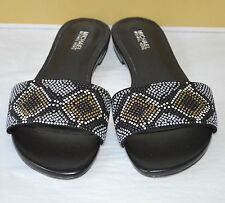 New $110 Michael Kors Mercer Slide Suede Hot Fix Grey/Black Multi Sandal Leather