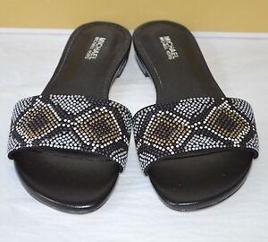 New $110 Michael Kors Mercer Slide Suede Hot Fix Grey/Black Multi Sandal Leather
