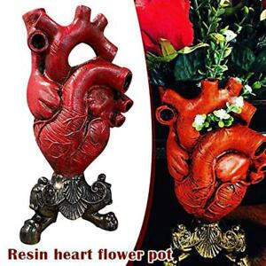 Anatomical Heart Vase Resin Flower Pot Desktop Ornament Home Shelf Table Decorat
