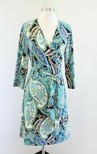 Banana Republic Floral Paisley Print Wrap Dress Size M Green Blue Multi Color