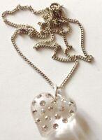 pendentif  collier vintage cœur 3D cristaux diamant couleur argent / 152