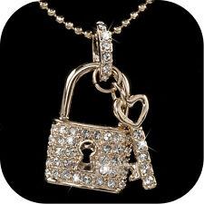 pendant necklace 18k rose gold made with SWAROVSKI crystal key lock pair