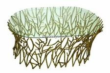 Horchow Elm Glass Top IRON TWIG Coffee Cocktail Table Gold Branch Contemporary