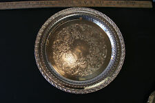 Antique us silver plated platters trays ebay wm rogers son silver plate spring flower pattern 12in serving tray 2070 mightylinksfo