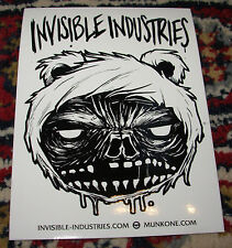 "MUNK ONE Sticker 3 X 4"" CRAZY TEDDY BEAR from poster print Invisible Industries"