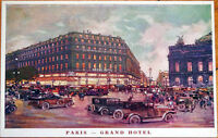 1910 Artist-Signed Advertising Postcard: Grand Hotel - Paris, France