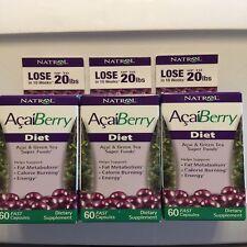Natrol AcaiBerry Diet 60 Tablet 3-PACK Acai & Green Tea Superfoods Exp 8/31/17
