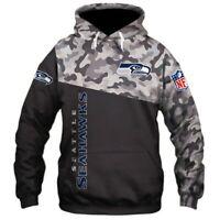 SEATTLE SEAHAWKS Zipper Hoodie Hooded Pullover S-5XL Football Team Fans NEW