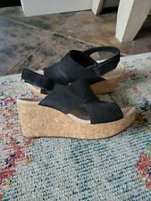 CLARKS LAFLEY JOY BLACK CORK WEDGE LEATHER STRAP COMFORT COLLECTION  size 9 NEW