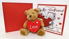 """Valentines Day Gifts For Her Cute Plush Teddy """"Love"""" Heart & Lovely Sweet Card"""
