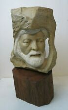 Superb Hand Carved Marble Bust Sculpture Bearded Man Signed and Dated 1979