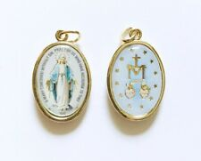 MIRACULOUS MEDAL / OUR LADY OF GRACE - Double-Sided, Colour on Brass Mount