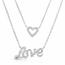 1/10 Cttw Diamond Double Love & Heart Necklace