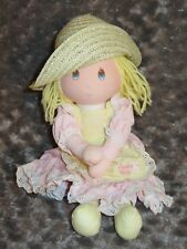 """Applause Easter Lily Doll 1983 Vintage Blonde Pink Dress Straw Hat 14"""" Baby Girl"""