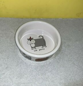 "Cat Party Food Bowl by Ursula Dodge Design Fun Kitten 5 1/2""  Used Clean Funny"