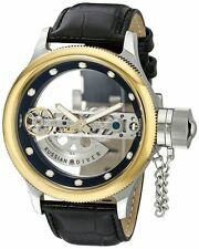 New Mens Invicta 14213 Russian Diver Automatic Skeleton Dial Black Leather Watch