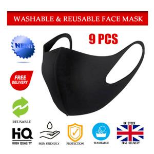 9PCS Reusable Face Mask Public Transport sports Washable UK Stock