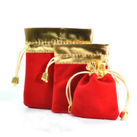12Pcs Fleece Gilding Red Drawstring Pouch Jewelry Bag Wedding Gift Bag 7x9cm