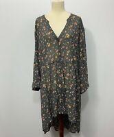 Torrid Womans gray floral Hi/Low hem sheer button down tab sleeves Tunic top 4X