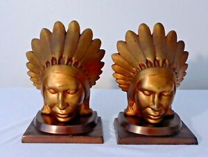 RARE PR. OF SIGNED FRANKART DECO PERIOD INDIAN CHIEF BRASS & BRONZE BOOKENDS
