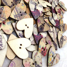 50 pcs Heart Tower Wood Buttons 25mm Sewing Craft Mix Lots WB262