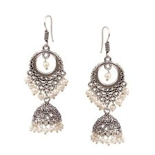 Traditional Silver Plated Oxidized jhumki White pearls Second Design Earrings