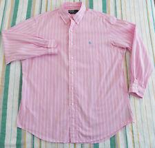 Polo Ralph Lauren Custom Fit MENS SHIRT Size 17 43 pink stripe cotton LongSleeve