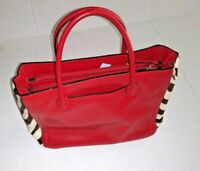 Adrienne Vittadini red leather crock embossed bag Tote Style Many Zipped Pockets