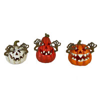 "Set/3 6"" Multi-Color Light Up Small Pumpkin JOL Halloween Haunted Spooky Decor"