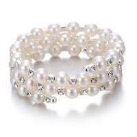 Women Fashion Multilayer Pearl Crystal Rhinestone Bangle Bracelet Jewellery Gift