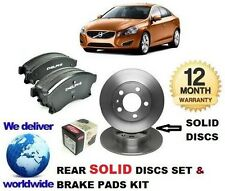 FOR VOLVO S60 2.0DT D3 2.4 D5 3.0 T6 10-> REAR BRAKE DISCS SOLID + DISC PADS KIT