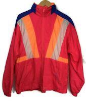Vintage 80s 90s Windbreaker Jacket  Purple Brown Color Block  AB Sport  Shoulder Pads  Patchwork  Active Workout Sport Athletic